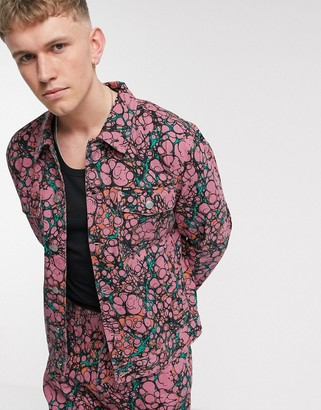 Obey Botch all-over print denim jacket in coral multi