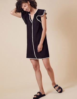 Monsoon Lila Frill Sleeve Dress in Organic Cotton Black