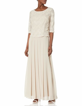 Le Bos Women's Embroidered Pleated Long Dress