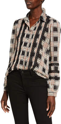 Allison New York Plaid Pintucked Lace Button Down Blouse