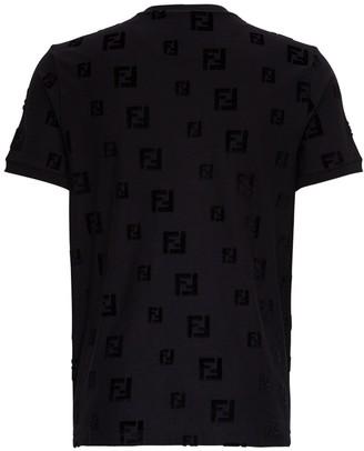 Fendi Cotton T-Shirt with allover FF Logo