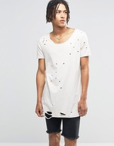 Asos Super Longline T-Shirt With Extreme Distress In Off White