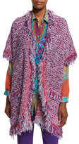 Etro Boucle Fringe Short-Sleeve Cardigan, Purple/Pink