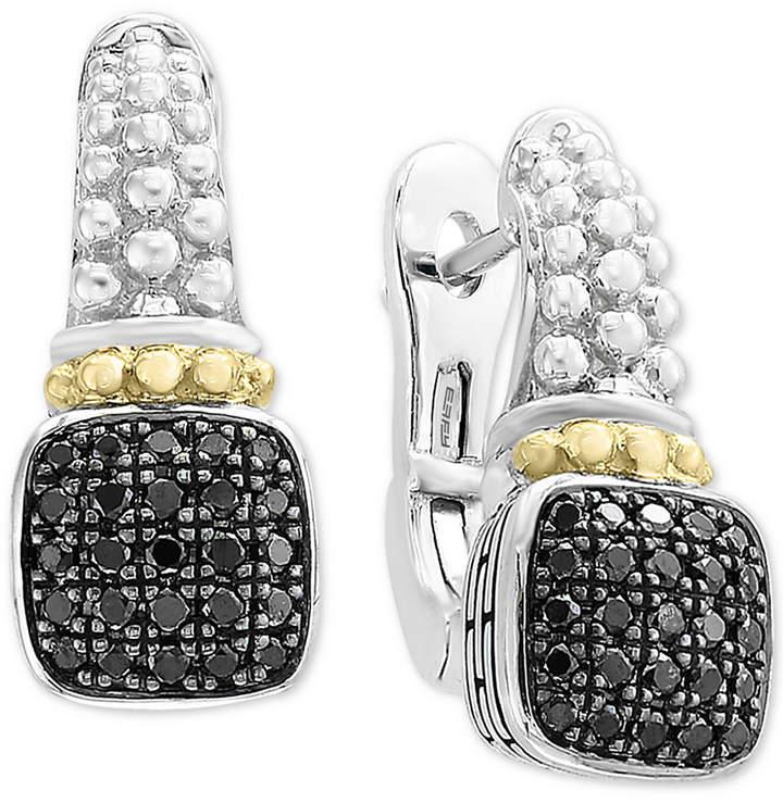 Effy Balissima by Diamond Cluster Beaded Drop Earrings (1/3 ct. t.w.) in Sterling Silver & 18k Gold