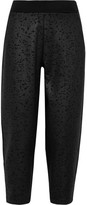 Nike Cropped Embossed Stretch-neoprene Track Pants - Black