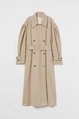 H&M Puff-sleeved Trenchcoat - Beige