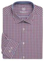 Bugatchi Shaped-Fit Checkered Cotton Dress Shirt