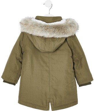 River Island Mini Mini Kids Faux Fur Hooded Parka-Khaki