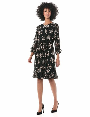 Calvin Klein Women's Printed WRAP Front Long Sleeve Dress