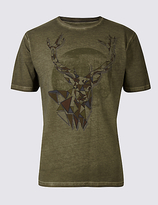 M&S Collection Pure Cotton Printed Crew Neck T-Shirt
