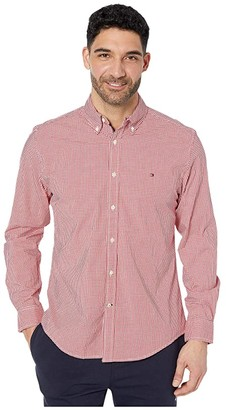 Tommy Hilfiger Willoughby Gingham Long Sleeve Stretch Classic Fit (Apple Red) Men's Clothing