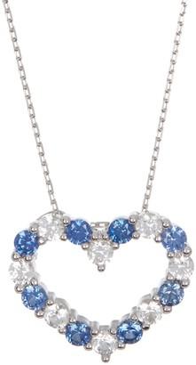 Suzy Levian Sterling Silver Sapphire & Diamond Accent Open Heart Pendant Necklace