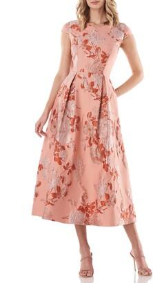 Kay Unger Floral Jacquard Midi Dress