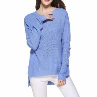 Yczx Womens Sweaters Crew Neck Long Sleeves Knit Pullovers Autumn Winter Casual Basic Jumpers Loose Comfortable Knitwear Soft Sweaters Fashionable Creative Design Irregular Hem XL