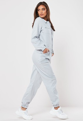 Missguided Grey Long Sleeve Utility Jumpsuit
