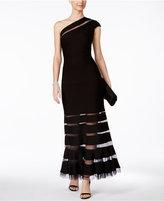 Tadashi Shoji One-Shoulder Illusion Gown