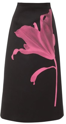 Christopher Kane Anthomania Flower-print Satin Midi Skirt - Womens - Black