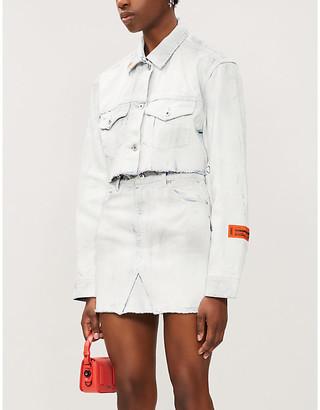 Heron Preston High-waisted denim mini skirt