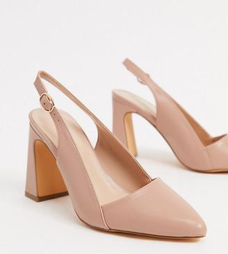 Co Wren Wide fit mid heeled slingback shoes in beige