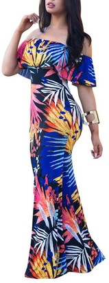 Homebaby   Maxi Dress HOMEBABY Women Off Shoulder Floral Maxi Dress - Ladies Summer Bridesmaid Dress Vintage Elegant Formal Evening Party Spring Beach Long Dresses Sundress (S