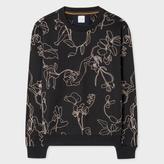 Paul Smith Men's Black Loopback-Cotton 'Botanical' Embroidered Sweatshirt