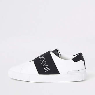 River Island White elastic slip on runner trainers