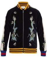 Gucci Dragon-embroidered Cotton-blend Bomber Jacket