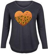 Instant Message Plus Women's Tee Shirts HEATHER - Heather Charcoal Sunflower Field Heart Long-Sleeve Tee - Plus