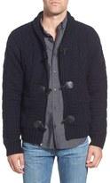 Schott NYC Men's Cable Knit Shawl Collar Zip Cardigan