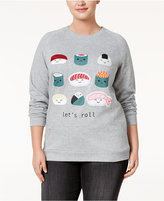 Freeze 24-7 Trendy Plus Size Sushi Graphic Sweatshirt