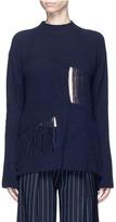 Stella McCartney Fringed cutout panel cashmere-wool sweater