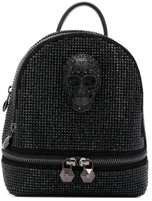 Philipp Plein Crystal-Embellished Skull Backpack