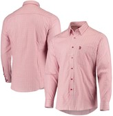 Antigua Men's Red/White Boston Red Sox Structure Button-Up Long Sleeve Shirt