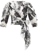 Alexandre Vauthier Puff-sleeve Floral-print Cotton Wrap Blouse - Womens - Black White