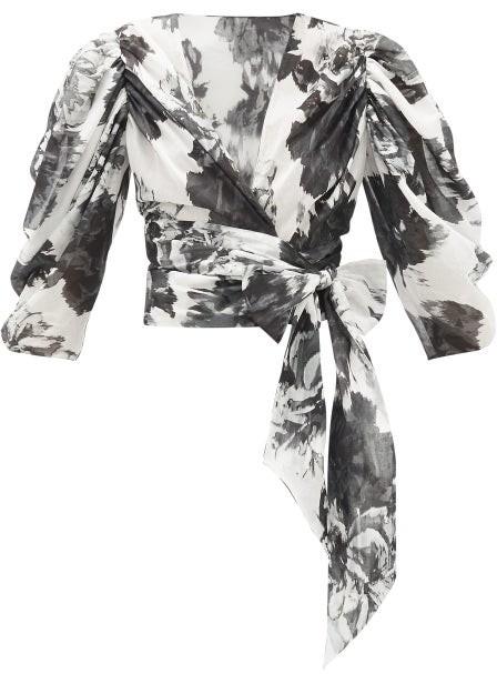 Alexandre Vauthier Puff-sleeve Floral-print Cotton Wrap Blouse - Black White