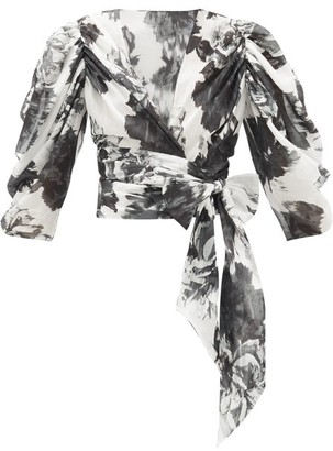 Alexandre Vauthier Puff-sleeve Floral-print Cotton Wrap Blouse - Black White