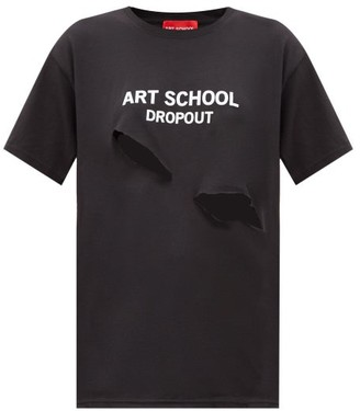 Art School Dropout Cutout Cotton-jersey T-shirt - Black White