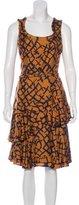 Oscar de la Renta Linear Print Belted Dress
