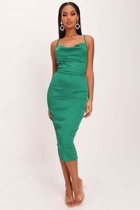 I SAW IT FIRST Emerald Green Satin Bodycon Midi Dress