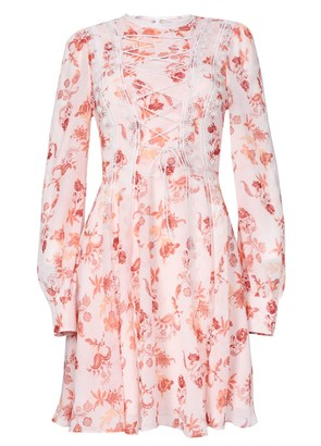 True Decadence Peach Spring Floral Lace Up Front Mini Dress