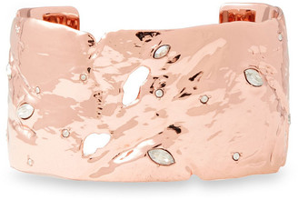 Alexis Bittar Hammered Rose Gold-tone Crystal Cuff
