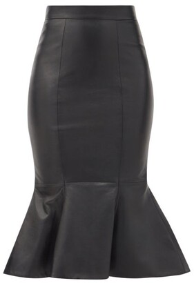 Alexandre Vauthier Fluted Leather Pencil Skirt - Black