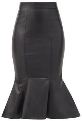 Alexandre Vauthier Fluted Leather Pencil Skirt - Black