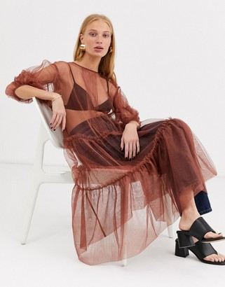 And other stories & Capsule ruffle hem tulle midi dress in rust-Brown