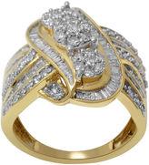 JCPenney FINE JEWELRY diamond blossom 1 CT. T.W. Diamond 10K Yellow Gold 3-Cluster Swirl Ring