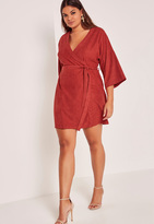 Missguided Red Plus Size Faux Suede Kimono Dress