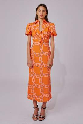 C/Meo Collective MORNINGS SHORT SLEEVE DRESS tangerine chain