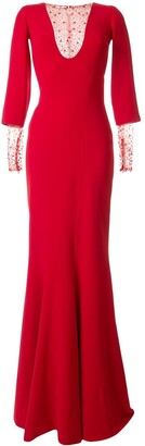 Saiid Kobeisy Fitted Embellished Long Dress