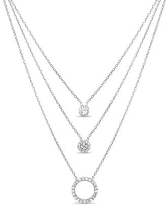 Lesa Michele Pave Circle Triple Layer Necklace
