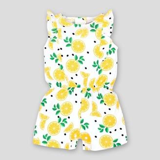 Lamaze Baby Girl' Ruffle Lemon Organic Cotton Romper - /White 24M